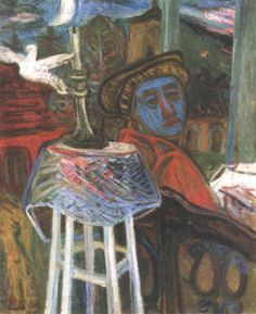 The Painter  by Imre Ámos (1907~1944/45) | He was elected to be a member of the New Society of Artists, and spent his summers in Szentendre and worked there. He visited Paris in 1937 where he met Chagall. Ámos became a member of the National Salon in 1938. In 1940 he was taken to labour camp in Vojvodina, then to the battle field in the east, and in 1944 he was deported to Germany, where he died, probably in a concentration camp in Saxony...