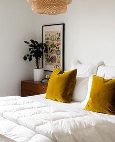 My Favorite Washable White Bedding! Scandi Bedroom, Home Bedroom, Bedrooms, Bedroom Ideas, Boho Home, Gold Pillows, Yellow Pillows, Velvet Pillows, Throw Pillows