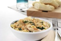 chicken penne with mushroom and spinach