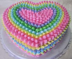 pastel rainbow cake for a pink & green party Cake Icing, Buttercream Cake, Cupcake Cakes, Frosting, Heart Shaped Cakes, Heart Cakes, Pretty Cakes, Cute Cakes, Valentine Cake