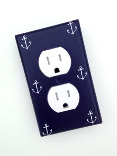 Anchor Light Switch Plate Cover / Nautical Nursery Decor / Boys Girls Room / Out to Sea Michael Miller. $10.00, via Etsy.