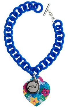 Opsobjects OPS!Tropical OPSBR-211. Blue polycarbonate bracelet with soft-touch finish. Blue silicone heart pendant with tropical texture. Steel tag inset with logo. #Opsobjects sweet strawberry and vanilla #scent.