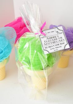 Cute party favor: Ice cream soap on a rope, with a shower poof!