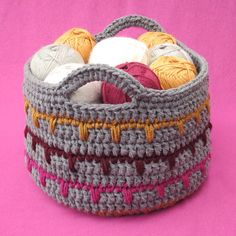 Crochet Basket for your yarn,  incorporating Spike Stitch. Free pattern.