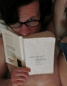 Here is a shirtless Matt Smith, wearing glasses, reading a book-- commence the dirty nerd thoughts. Matt Smith, Robert Smith, Never Be Alone, Eleventh Doctor, Raining Men, Geek Out, Actors, Dr Who, Superwholock
