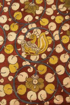 Kalamkari Fabric, Kalamkari Painting, Kalamkari Saree, Art Nouveau Pattern, Pattern Art, Disney Drawings Sketches, Greek Pattern, Fabric Paint Designs, Indian Art Paintings