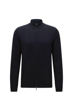 Cardigan slim fit in cotone con zip a due direzioni: 'Ison-O'