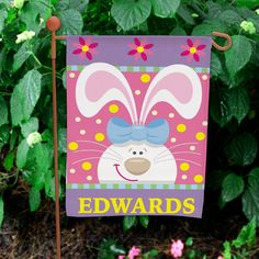"""Personalized #Easter Bunny Garden Flags. Decorate your home for Easter with this fun and colorful Easter Bunny Personalized Garden Flag! Perfect to display in your yard or garden and makes a wonderful Easter Gift Idea. Your Personalized Easter Bunny Garden Flag is printed on one side and measures 12 1/2""""w x 18""""h. Includes FREE Personalization. We will personalize this Garden Flag with with any one line custom message."""