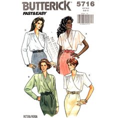 Womens Blouse Pattern Butterick 5716 Mock by finickypatternshop