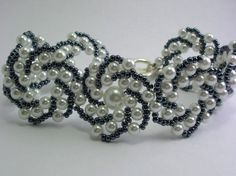 Pearl and gunmetal gray flat spiral bracelet | JBBeads - Jewelry on ArtFire
