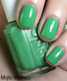 Essie Mojito Madness swatched by Beauty Junkies Unite. Fabulous summer green.