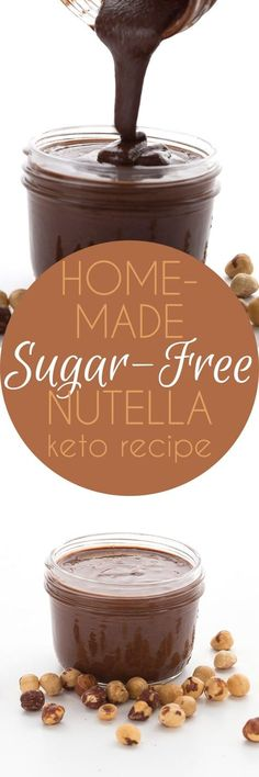 Homemade Sugar-Free Nutella Roasted hazelnuts and chocolate together in a delicious low carb chocolate hazelnut spread. This keto Nutella will knock your socks off! via All Day I Dream About Food Desserts Keto, Keto Friendly Desserts, Sugar Free Desserts, Sugar Free Recipes, Low Carb Recipes, How To Roast Hazelnuts, Low Carb Chocolate, Chocolate Hazelnut, Recipes