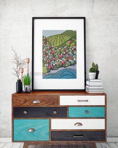Artist Shanni Welsh's Pacific Northwest Village print. Urban Coastal art poster. Urban Coastal Fishing Village wall décor. Mountains, farmland, coastal village.