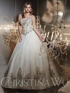 Christina Wu Terry Costa Dallas Ivory/Silver Wedding Dress - Strapless Heavily Beaded bodice w/dangle beads. Heavily embroidered detail on tulle skirt. Lace-Up Back. Wedding Dress Pictures, Wedding Dresses Photos, Wedding Dress Styles, Bridal Dresses, Wedding Gowns, Wedding 2017, Gold Wedding, Elegant Wedding, Prom Dresses