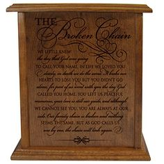 The Broken Chain Keepsake Funeral Cremation Urn for Human Adult Ashes Hand Made in Solid Cherry Wood Hand Finished and Laser Engraved Wooden Cremation Urn in Home or Niche At Columbarium *** You can get more details by clicking on the image.