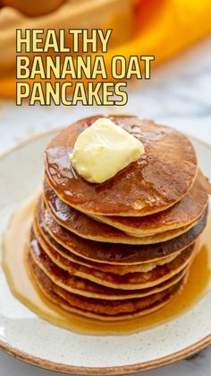 Healthy Oat Pancakes, Oatmeal Pancakes Easy, Banana Oat Pancakes, Dairy Free Pancakes, Quick Healthy Breakfast, Banana Oats, Healthy Breakfasts, Healthy Recipes, Banana Breakfast Recipes