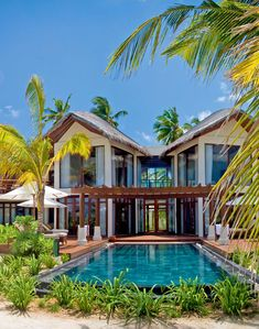 Constance Halaveli Resort ( Maldives ) Family Villas offer direct access to the beach and family-friendly amenities such as strollers. Tropical Beach Houses, Rest House, Villa Design, My Dream Home, Future House, Beautiful Homes, Beautiful Beach, House Plans, Mansions