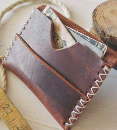 Rugged Brown Leather Card Holder