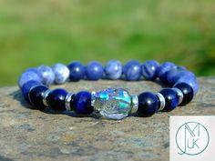 Swarovski Paradise Shine Crystal Skull Sodalite/Blue Tigers Eye Bracelet