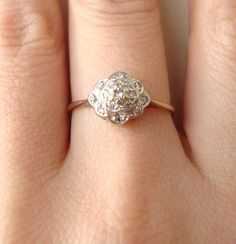 Vintage Layered Diamond Flower Ring, 9k Diamond Flower Ring, Approximate Size US 6.25        im in love with how vintage and lovely this is