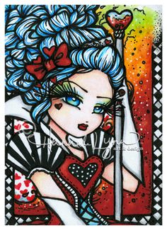 Queen of Hearts Alice Wonderland Fantasy Wall Art Painting Print Hannah Lynn Lewis Carroll, Colouring Pages, Coloring Books, Adult Coloring, Queen Of Hearts Alice, Hannah Lynn, Fantasy Kunst, Artist Trading Cards, Fantasy Artwork