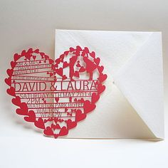 Hearts Laser Cut Wedding Invitation