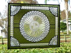 Stained Glass Panel Depression Glass Plate by HeritageDishes