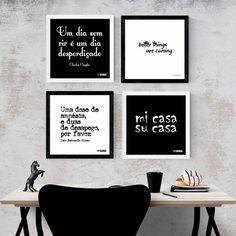 Kit de Quadros Decorativos Frases Preto e Branco. Posters e Quadros incríveis para sua decoração. Cultura Pop, Música, Cinema, Frases e mais. Confira.