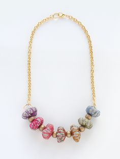 Fabric Necklace Rainbow