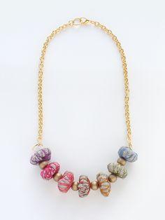 Collar de tela. Inspiración. / Fabric Necklace Rainbow
