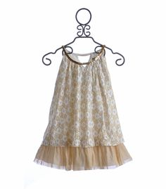 Elisa B Tween Holiday Dress in White and Gold Lace