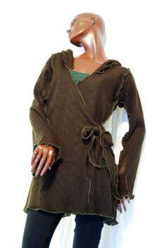 Elven pixie jacket, pointy hood brown woodland boho OOAK