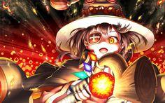 Herunterladen hintergrundbild megumin, kunst, manga, konosuba, kono subarashii sek ' ai ist shukufuku wo