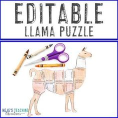 EDITABLE Llama Puzzle: Great for a Llama Bulletin Board or Classroom Decor Theme |  1st, 2nd, 3rd, 4th, 5th grade, Activities, English Language Arts, Fun Stuff, Games, Homeschool, Math, Middle School, Science