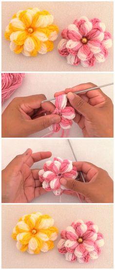 Crochet flowers 511369732687767112 - Super Easy Crochet Flower Tutorial Source by Crochet Puff Flower, Crochet Flower Tutorial, Crochet Flower Patterns, Crochet Flowers, Knitting Patterns, Yarn Flowers, Crochet For Beginners, Crochet For Kids, Free Crochet
