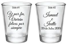 "96 Wedding Favors: Personalized Glass Shot Glasses ""Take a shot, we tied the knot! Wedding Favours Shots, Wedding Shot Glasses, Wedding Favor Boxes, Wedding Favors For Guests, Personalized Wedding Favors, Spanish Wedding, Just For You, Take That, Thing 1"