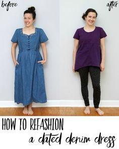 See how to makeover a dated denim dress into a fun new tunic top! This is refashion sewing inspiration with a photo tutorial for the steps taken. Great way to upcycle old clothes. Gathered Skirt, Recycled Fabric, Fashion Over 50, Short Sleeve Dresses, Photo Tutorial, Tunic Tops, Denim, Clothes For Women, Repurpose