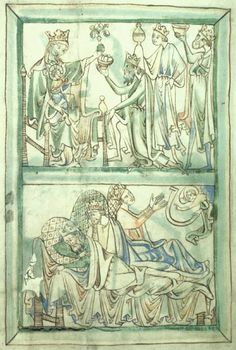 Tinted drawing from one of the twelve surviving leaves of a psalter from the Benedictine Abbey of Chertsey, Surrey, c.1220-30, probably of London origin. Mary wears a mantle and two dresses, with the green overdress pulled up to reveal the yellow (?) underdress. The green overdress may also be a misreading of the green mantle--I can't tell.