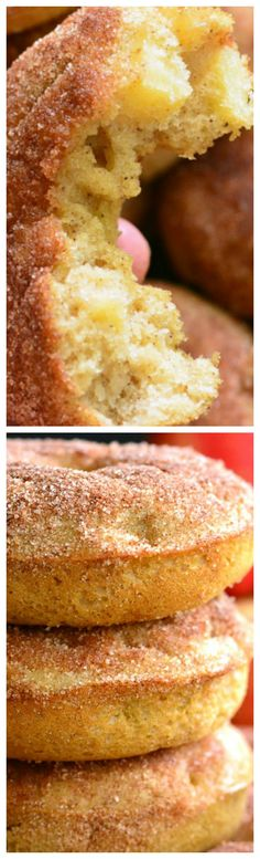 Apple Pie Baked Doughnuts ~ These delicious cake-like doughnuts are made with apple pie filling throughout and topped with some cinnamon sugar mixture.