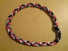 20″ Tornado Titanium Baseball Softball Energy Braided Sport Necklace Black,white and red.