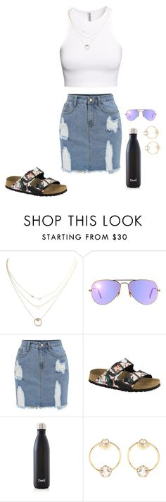 """READ THE D!! PLEASE!!"" by blondie2004 ❤ liked on Polyvore featuring H&M, French Connection, Ray-Ban, Birkenstock, S'well and Loren Stewart"