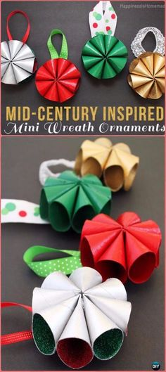 DIY Paper Roll Christmas Craft Ideas & Projects with Instructions, Christmas Ornaments, Christmas decorations, Christmas recycled kids crafts Christmas Toilet Paper, Christmas Ornaments To Make, Christmas Crafts For Kids, Holiday Crafts, Christmas Diy, Christmas Wreaths, Christmas Decorations, Handmade Christmas, Crafts Made With Toilet Paper Rolls