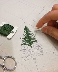 """5,645 Likes, 68 Comments - Professional Embroiderer (@delphil__) on Instagram: """"Future wall decoration Experimentation ✌ . . #sapin #fir #foret #forest #greenlife #simple…"""""""