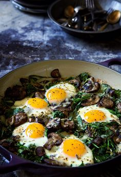 Spinach Mushrooms and Leeks with Baked Eggs via Bakers Royale