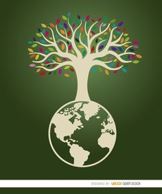 This cool image is perfect for making a poster for campaigns related to ecology, nature, and Earth Day; it shows a beautiful white wood tree with many colorful leaves above planet earth with a green backdrop behind. High quality JPG included. Under Commons 4.0. Attribution License.