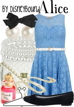 DisneyBound is meant to be inspiration for you to pull together your own outfits which work for your body and wallet whether from your closet or local mall. As to Disney artwork/properties: ©Disney Moda Disney, Disney Mode, Alice Disney, Disney Themed Outfits, Disney Dresses, Disneybound Outfits, Disney Inspired Fashion, Disney Fashion, Chesire Cat
