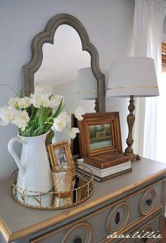 Tall White Pitchers with Fresh Flowers – Dresser Decor Dresser Top Decor, Bedroom Dresser Styling, Bedroom Dressers, Dresser Decorations, Tall Dresser, Dresser Mirror, Nightstands, Dresser Drawers, Rustic Bedroom Design