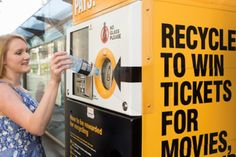 Sydney is trialling two Envirobank machines that reward recyclers with movie tickets, bus trips, and food vouchers.