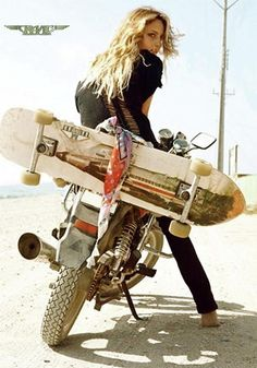 Longboard Photograph - Longboard, The Motorcycle And The Girl by Thomas Pollart