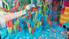 Pool noodle coral reef for photo booth Vbs Themes, Ocean Themes, Under The Sea Theme, Under The Sea Party, Submerged Vbs, Underwater Party, Ocean Party, Vbs 2016, Vbs Crafts